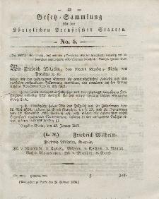 Gesetz-Sammlung für die Königlichen Preussischen Staaten, 26. Februar 1838, nr. 5.