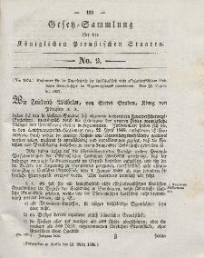 Gesetz-Sammlung für die Königlichen Preussischen Staaten, 13. März 1838, nr. 9.