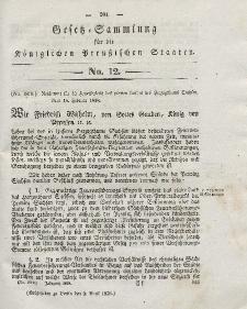 Gesetz-Sammlung für die Königlichen Preussischen Staaten, 2. April 1838, nr. 12.