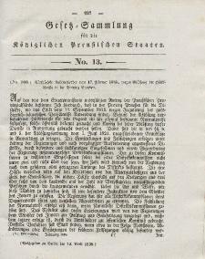 Gesetz-Sammlung für die Königlichen Preussischen Staaten, 12. April 1838, nr. 13.