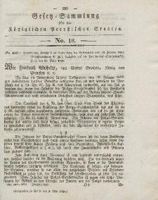 Gesetz-Sammlung für die Königlichen Preussischen Staaten, 3. Mai 1838, nr. 16.
