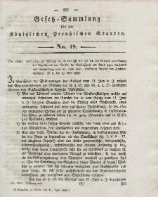 Gesetz-Sammlung für die Königlichen Preussischen Staaten, 11. Juni 1838, nr. 19.