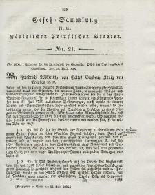 Gesetz-Sammlung für die Königlichen Preussischen Staaten, 15. Juni 1838, nr. 21.