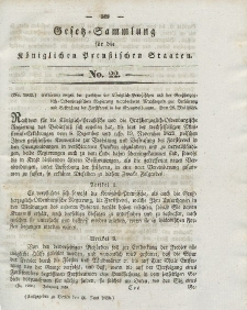 Gesetz-Sammlung für die Königlichen Preussischen Staaten, 16. Juni 1838, nr. 22.