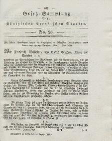 Gesetz-Sammlung für die Königlichen Preussischen Staaten, 14. August 1838, nr. 26.