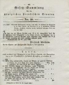 Gesetz-Sammlung für die Königlichen Preussischen Staaten, 18. August 1838, nr. 28.