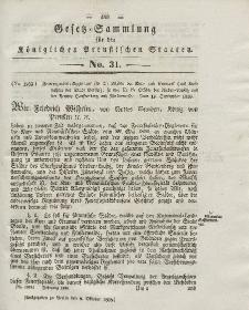Gesetz-Sammlung für die Königlichen Preussischen Staaten, 8. Oktober 1838, nr. 31.