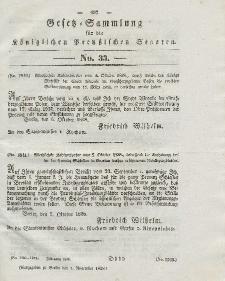 Gesetz-Sammlung für die Königlichen Preussischen Staaten, 7. November 1838, nr. 33.
