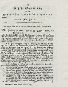 Gesetz-Sammlung für die Königlichen Preussischen Staaten, 24. November 1838, nr. 35.