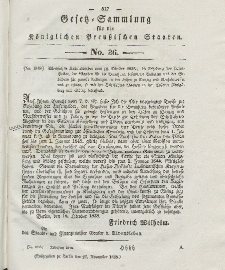 Gesetz-Sammlung für die Königlichen Preussischen Staaten, 27. November 1838, nr. 36.