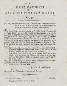 Gesetz-Sammlung für die Königlichen Preussischen Staaten, 8. Dezember 1838, nr. 37.