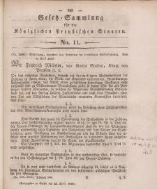 Gesetz-Sammlung für die Königlichen Preussischen Staaten, 29. April 1839, nr. 11.