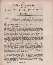 Gesetz-Sammlung für die Königlichen Preussischen Staaten, 3. August 1839, nr. 19.