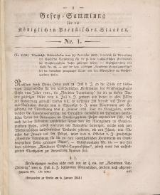 Gesetz-Sammlung für die Königlichen Preussischen Staaten, 9. Januar 1841, nr. 1.