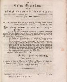 Gesetz-Sammlung für die Königlichen Preussischen Staaten, 15. Juli 1841, nr. 10.