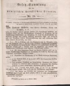Gesetz-Sammlung für die Königlichen Preussischen Staaten, 6. Oktober 1841, nr. 18.
