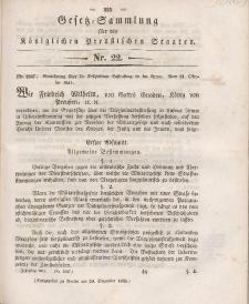 Gesetz-Sammlung für die Königlichen Preussischen Staaten, 20. Dezember 1841, nr. 22.