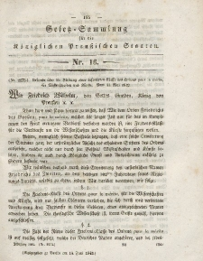Gesetz-Sammlung für die Königlichen Preussischen Staaten, 16. Juni 1842, nr. 16.