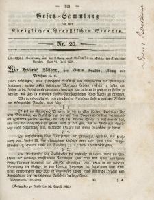 Gesetz-Sammlung für die Königlichen Preussischen Staaten, 30. August 1842, nr. 20.