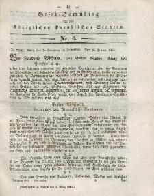 Gesetz-Sammlung für die Königlichen Preussischen Staaten, 4. März 1843, nr. 6.