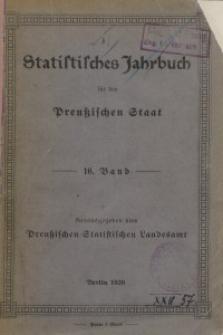 Statistisches Jahrbuch für den Preußischen Staat, 16. Jahrgang 1919