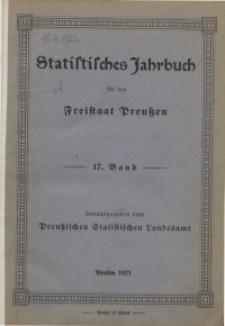 Statistisches Jahrbuch für den Freistaat Preußen, 17. Jahrgang 1920