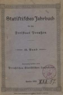Statistisches Jahrbuch für den Freistaat Preußen, 19. Jahrgang 1922