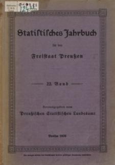 Statistisches Jahrbuch für den Freistaat Preußen, 22. Jahrgang 1925
