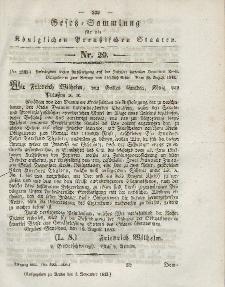 Gesetz-Sammlung für die Königlichen Preussischen Staaten, 4. November 1843, nr. 29.