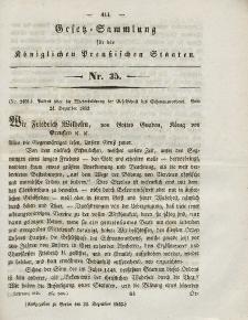 Gesetz-Sammlung für die Königlichen Preussischen Staaten, 30. Dezember 1843, nr. 35.