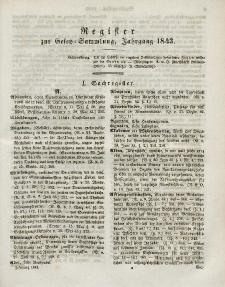 Gesetz-Sammlung für die Königlichen Preussischen Staaten (Register), 1843