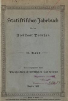 Statistisches Jahrbuch für den Freistaat Preußen, 18. Jahrgang 1921