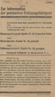 Zur Information der polnischen Volkszugehörigen