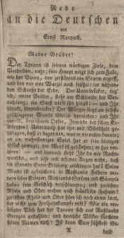 Rede an die Deutschen von Ernst Raupach