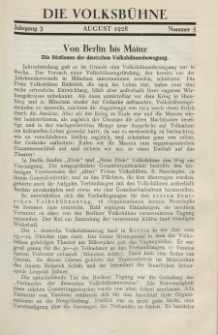 Die Volksbühne : Zeitschrift für soziale Theaterpolitik und Kunstpflege, 3 Jahrgang, August 1928, Nr 5