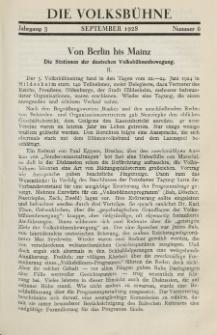 Die Volksbühne : Zeitschrift für soziale Theaterpolitik und Kunstpflege, 3 Jahrgang, Oktober 1928, Nr 6
