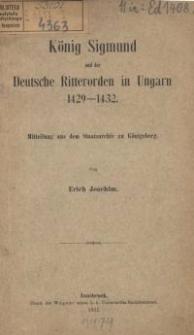König Sigmund und der Deutsche Ritterorden in Ungarn 1429-1432
