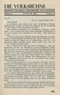 Die Volksbühne : Zeitschrift für soziale Theaterpolitik und Kunstpflege, 6 Jahrgang, Januar 1932, Nr 10