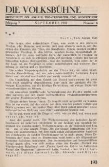 Die Volksbühne : Zeitschrift für soziale Theaterpolitik und Kunstpflege, 7 Jahrgang, September 1932, Nr 6