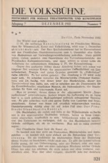 Die Volksbühne : Zeitschrift für soziale Theaterpolitik und Kunstpflege, 7 Jahrgang, Dezember 1932, Nr 9