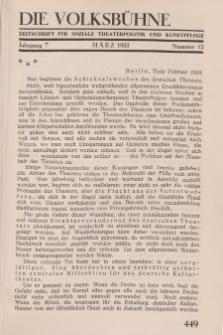 Die Volksbühne : Zeitschrift für soziale Theaterpolitik und Kunstpflege, 7 Jahrgang, April 1932, Nr 12
