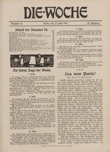 Die Woche : Moderne illustrierte Zeitschrift, 16. Jahrgang, 13. Juni 1914, Nr 24