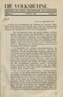 Die Volksbühne : Zeitschrift für soziale Theaterpolitik und Kunstpflege, 6 Jahrgang, April 1931, Nr 1