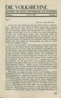 Die Volksbühne : Zeitschrift für soziale Theaterpolitik und Kunstpflege, 6 Jahrgang, Juni 1931, Nr 3