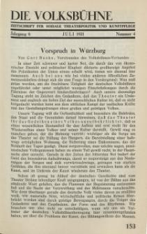 Die Volksbühne : Zeitschrift für soziale Theaterpolitik und Kunstpflege, 6 Jahrgang, Juli 1931, Nr 4
