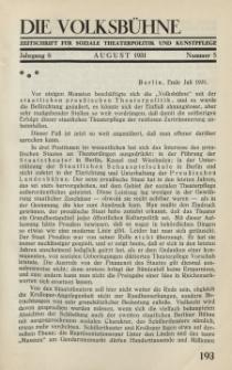 Die Volksbühne : Zeitschrift für soziale Theaterpolitik und Kunstpflege, 6 Jahrgang, August 1931, Nr 5