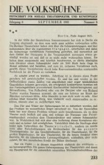 Die Volksbühne : Zeitschrift für soziale Theaterpolitik und Kunstpflege, 6 Jahrgang, September 1931, Nr 6