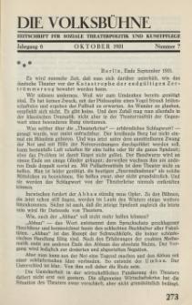 Die Volksbühne : Zeitschrift für soziale Theaterpolitik und Kunstpflege, 6 Jahrgang, Oktober 1931, Nr 7