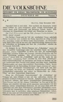 Die Volksbühne : Zeitschrift für soziale Theaterpolitik und Kunstpflege, 6 Jahrgang, Dezember 1931, Nr 9
