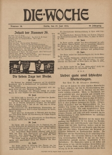 Die Woche : Moderne illustrierte Zeitschrift, 16. Jahrgang, 27. Juni 1914, Nr 26